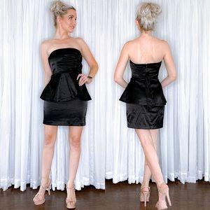 Black Strapless Peplum Cocktail Dress